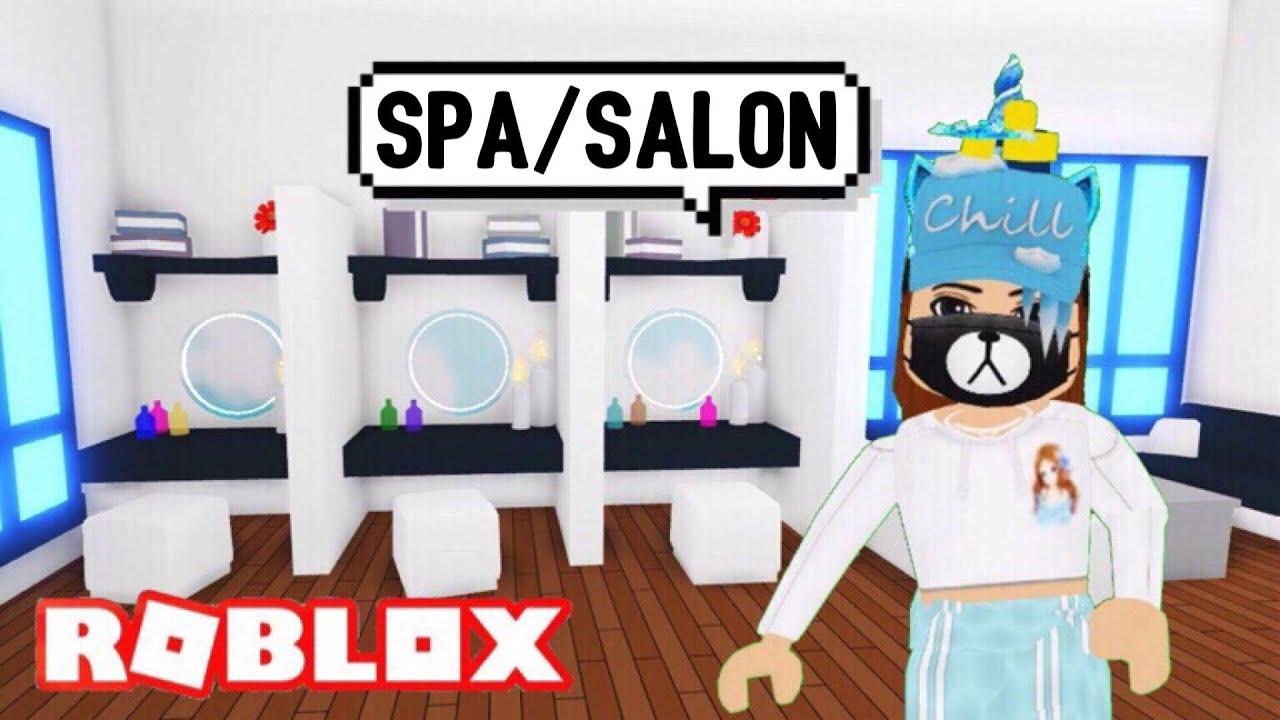 I made SPA/SALON Design Ideas & Building Hacks (Roblox Adopt me) Nail  Polish, Hair Wash, Makeup