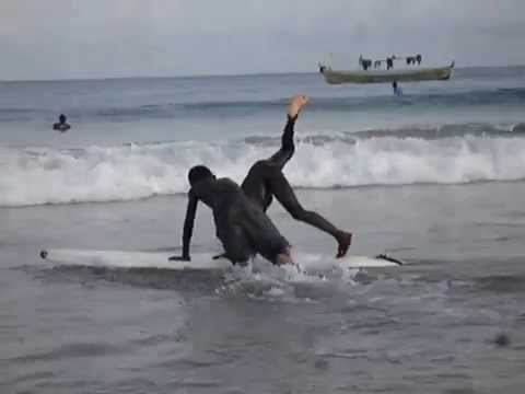 Charles surfing in Busua