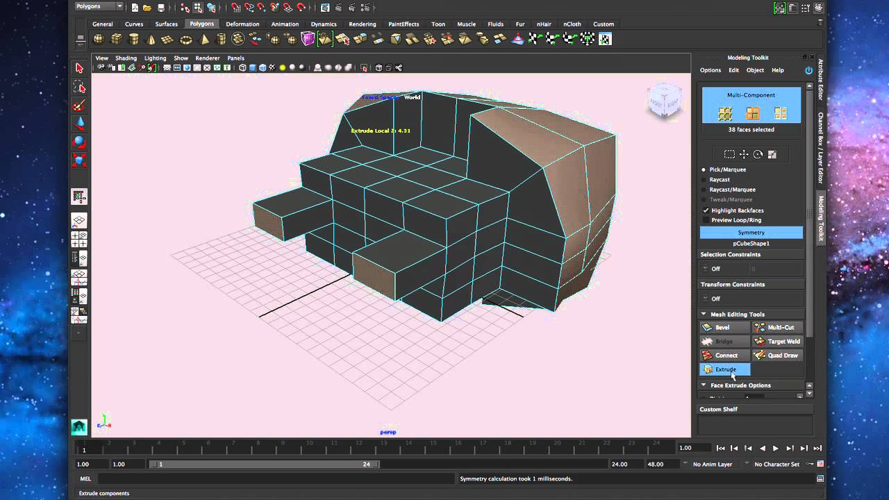 Using Symmetry in the Modeling Toolkit - Maya 2014