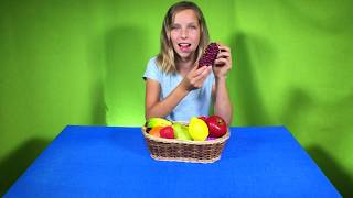 Learn English Words! Pretend Play Toy Fruit with Sign Post Kids!
