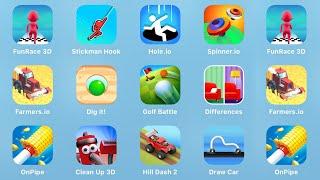 Fun Race 3D, Stickman Hook, Hole.io, Spinner.io, Farmers.io, Dig it, Golf Battle, Differences