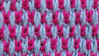 Двухцветный узор Вязание спицами Видеоурок 90