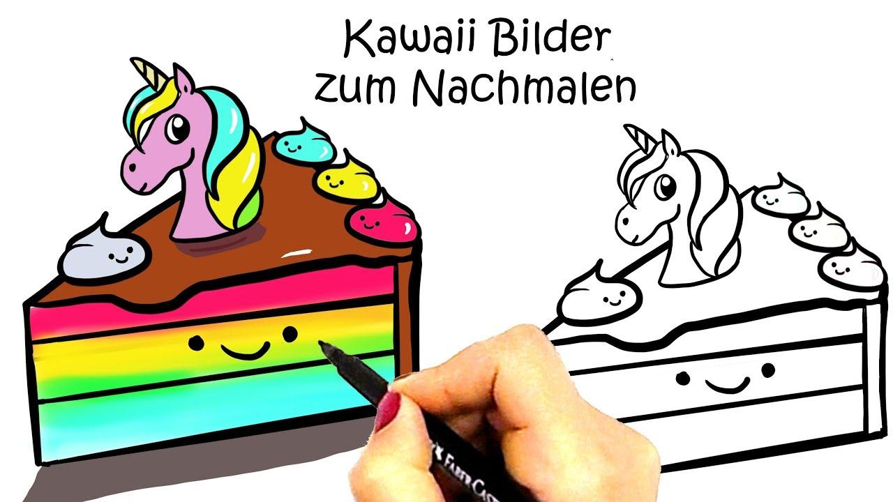 Kawaii Einhorn Kuchen Zum Nachmalen Kawaii Essen Ausmalbilder