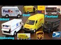 Children's TOY CARS. Delivery Trucks and Delivery Vans. FedEx, UPS, DHL and USPS Toy Trucks Playtime