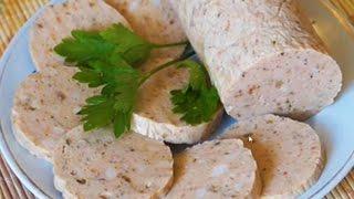 Домашние видео рецепты - куриная колбаса  в мультиварке(ИНГРЕДИЕНТЫ: 400 гр куриного филе, 100 гр свиного сала, 0,5 ч.л. мускатного ореха, 0,5 чл. сушеной зелени орегано,..., 2015-10-16T07:53:54.000Z)