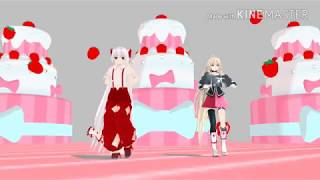 [MMD動画]うp主とゆかりと諏訪子と妹紅でおこちゃま戦争踊ってみた!