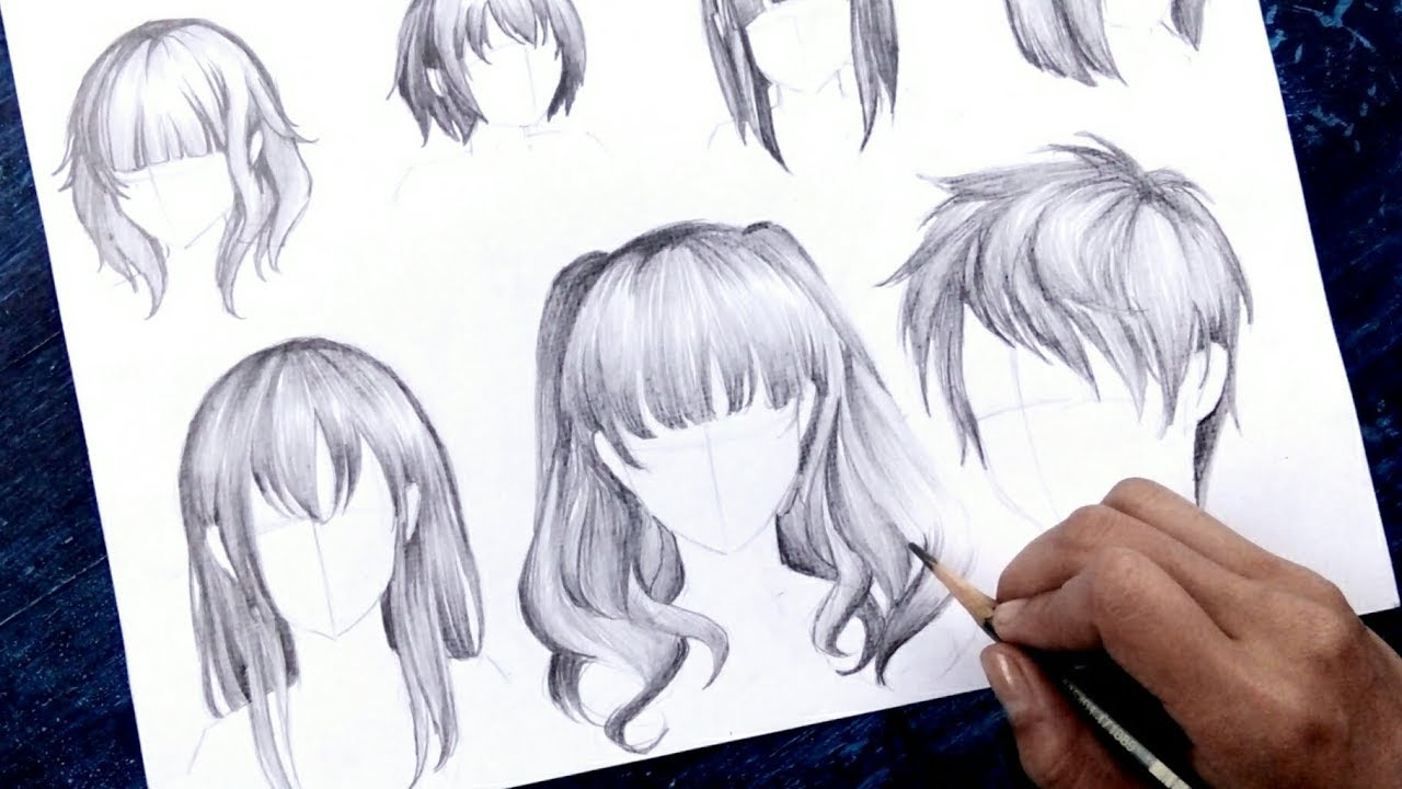 """How to draw Anime """"Hair"""" NO TIMELAPSE [Anime Drawing ..."""