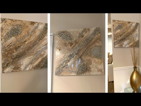 Home Decor DIY || 💕Gold & White Geode Resin Wall Art💕