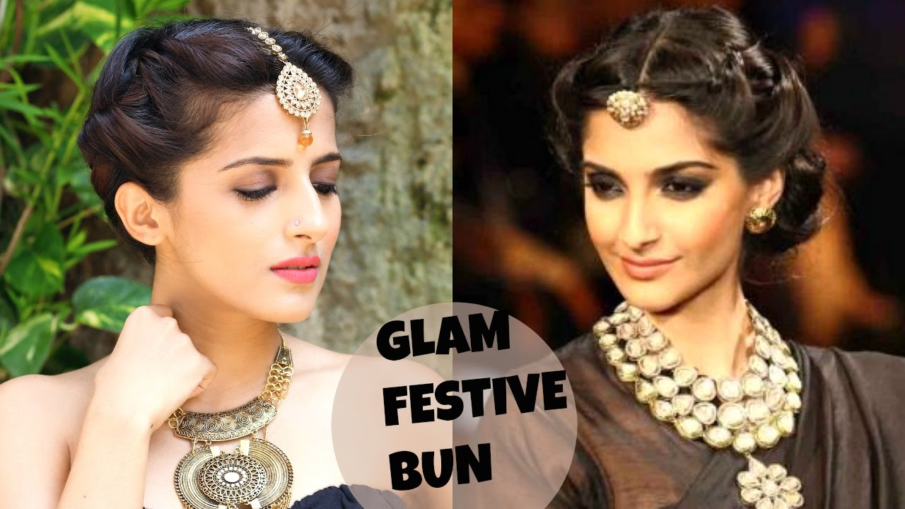sonam kapoor's easy bun hairstyle for party/wedding/festival