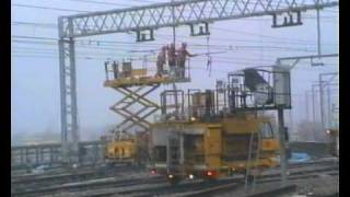 Overhead wire maintenance @ Stratford station London.