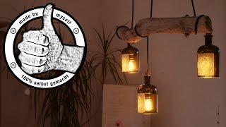 Esstischlampe Lampe selber bauen, machen Anleitung, Designer Treibholz LED (ENG SUB)