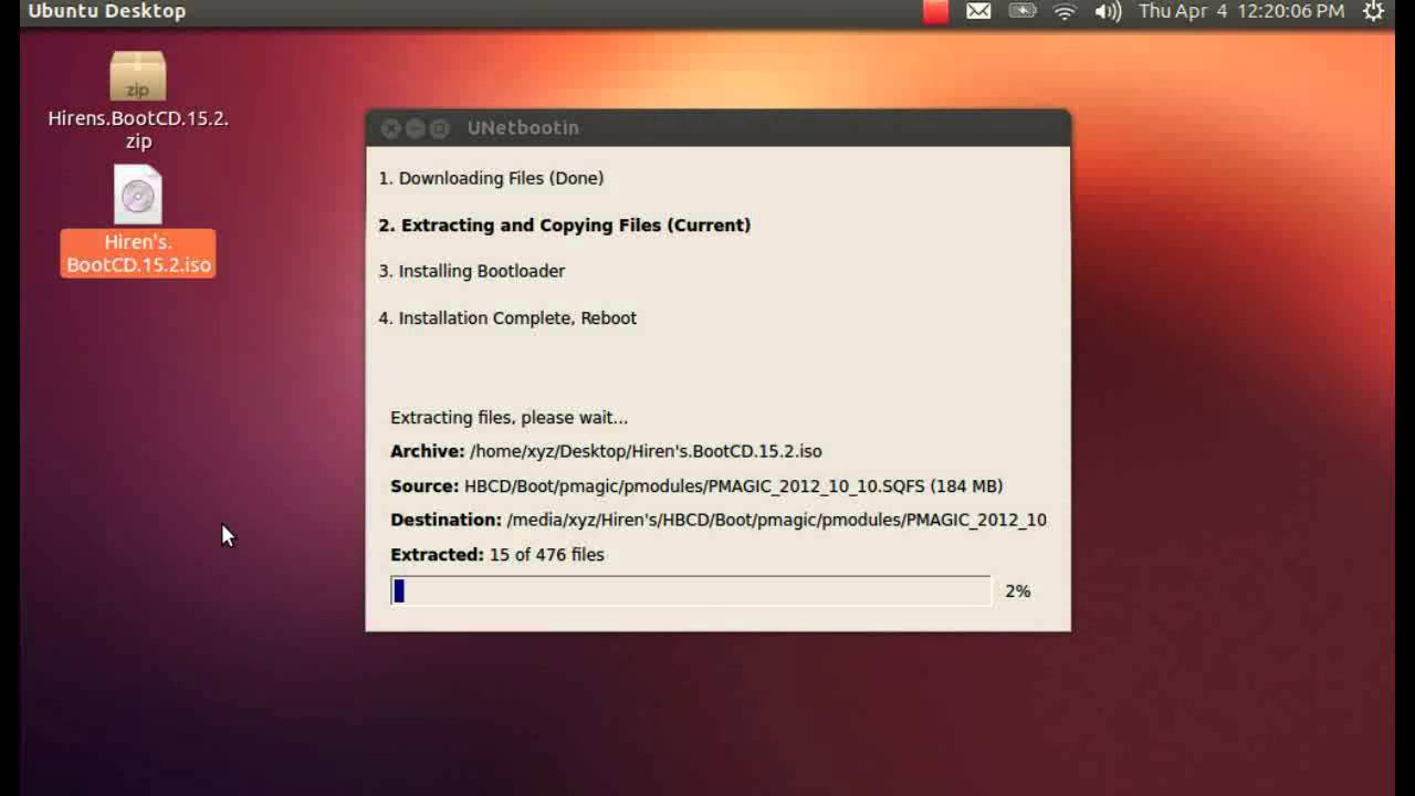 How to create and run the Hiren's BootCD 15.2 on a USB thumb  drive in Ubuntu 12.10 Linux