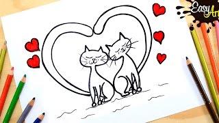 DIBUJOS│Como hacer una tarjeta de amor │Gatos enamorados 2│ how to draw a love card