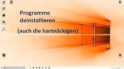 Programme löschen / deinstallieren # Windows 10  auch Problemfälle