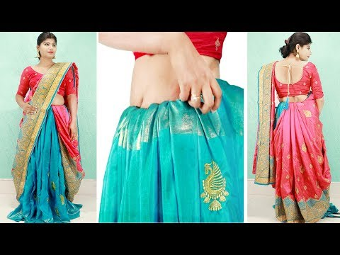 Double Petticoat के साथ लेहेंगा साड़ी कैसे पहने   How to Drape Saree like a Lehenga