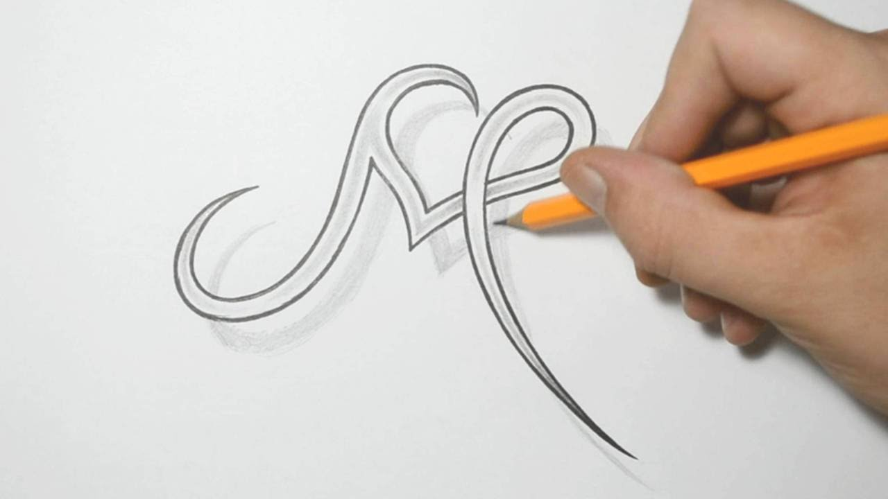 Letter M and Heart Combined - Tattoo Design Ideas for Initials