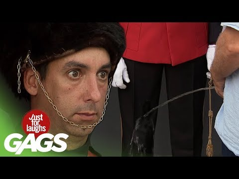 Blind Man Pisses On Royal Guard Prank! - Just For Laughs Gags
