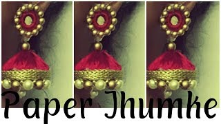 Navratri jewellery,silk thread  |DIY bridal jhumka | paper jwelery | use your old lace into Jhumka|