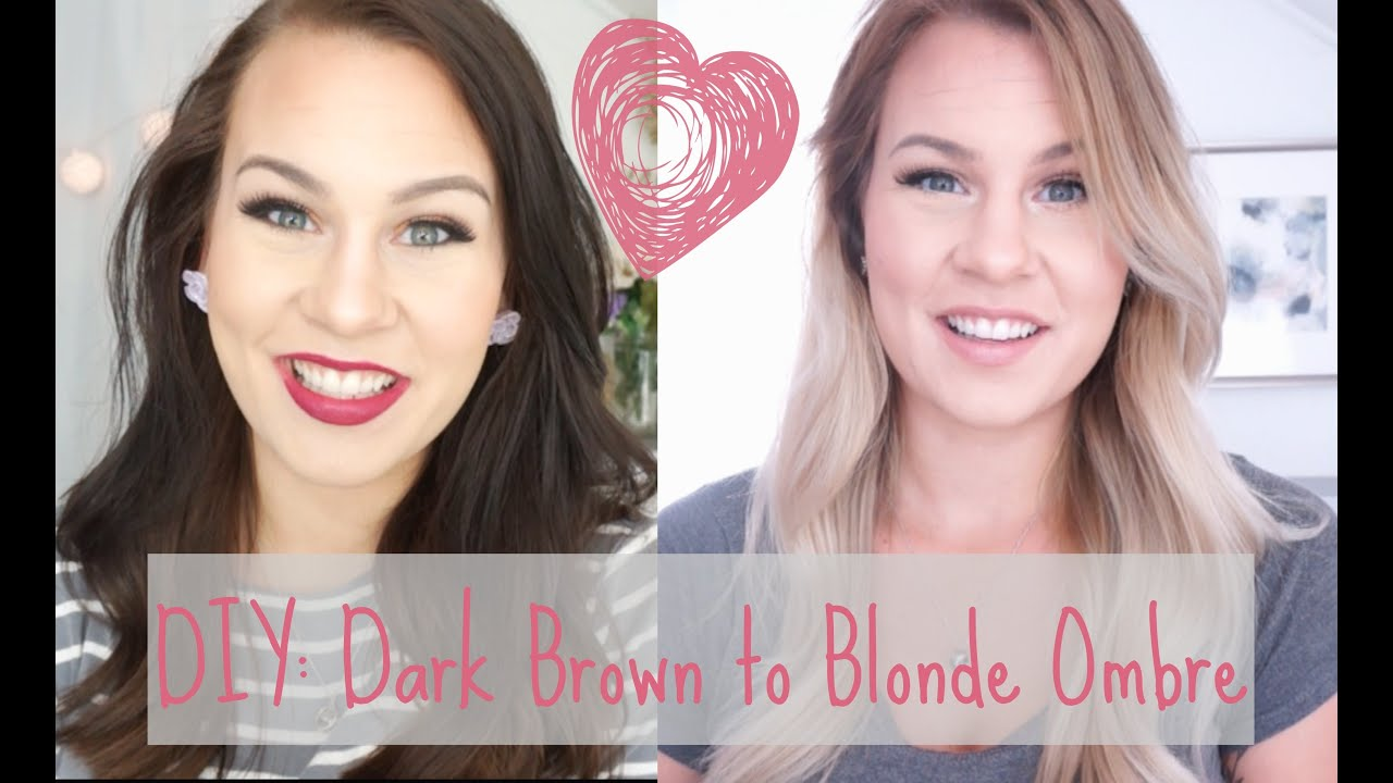 Diy dark brown to blonde ombrebalayage at home youtube solutioingenieria Choice Image