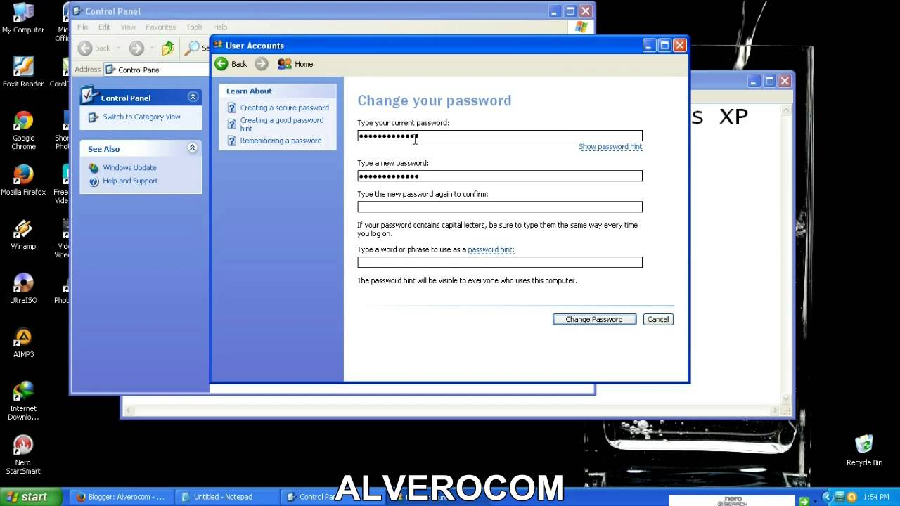 membuat password komputer di windows xp