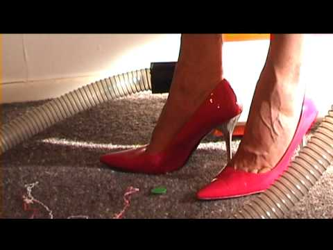 Vacuuming in High Heels:  Clear hose test video 2