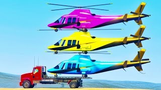 FUN HELICOPTER on Truck Cars Cartoon Spiderman Children & Colors for Kids Nursery Rhymes