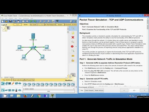 9.3.1.2 Packet Tracer Simulation - Exploration of TCP and UDP Communications
