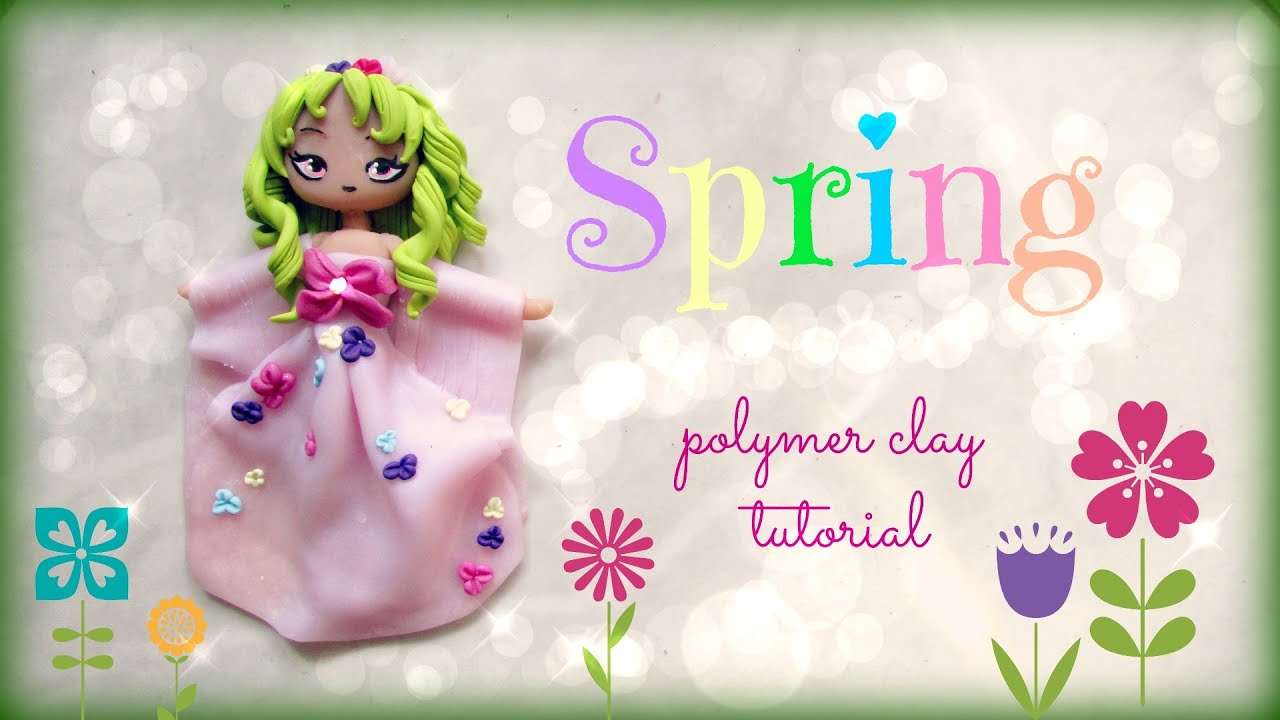 4 seasons spring polymer clay tutorial doll chibi youtube baditri Images