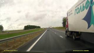 Car Flies over Highway and Hits Oncoming Car! - Dash Cam