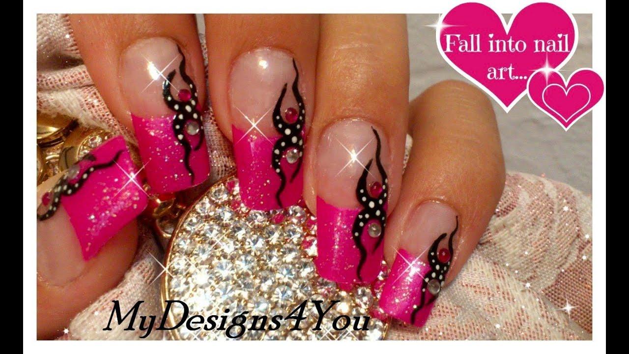 pink glitter nail art tutorial
