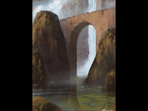 Digital Painting Process – Archway Landscape Illustration
