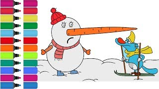 Oggy and the Cockroaches coloring Page! Fun Coloring Activity for Kids Toddlers  Snowman and Oggy