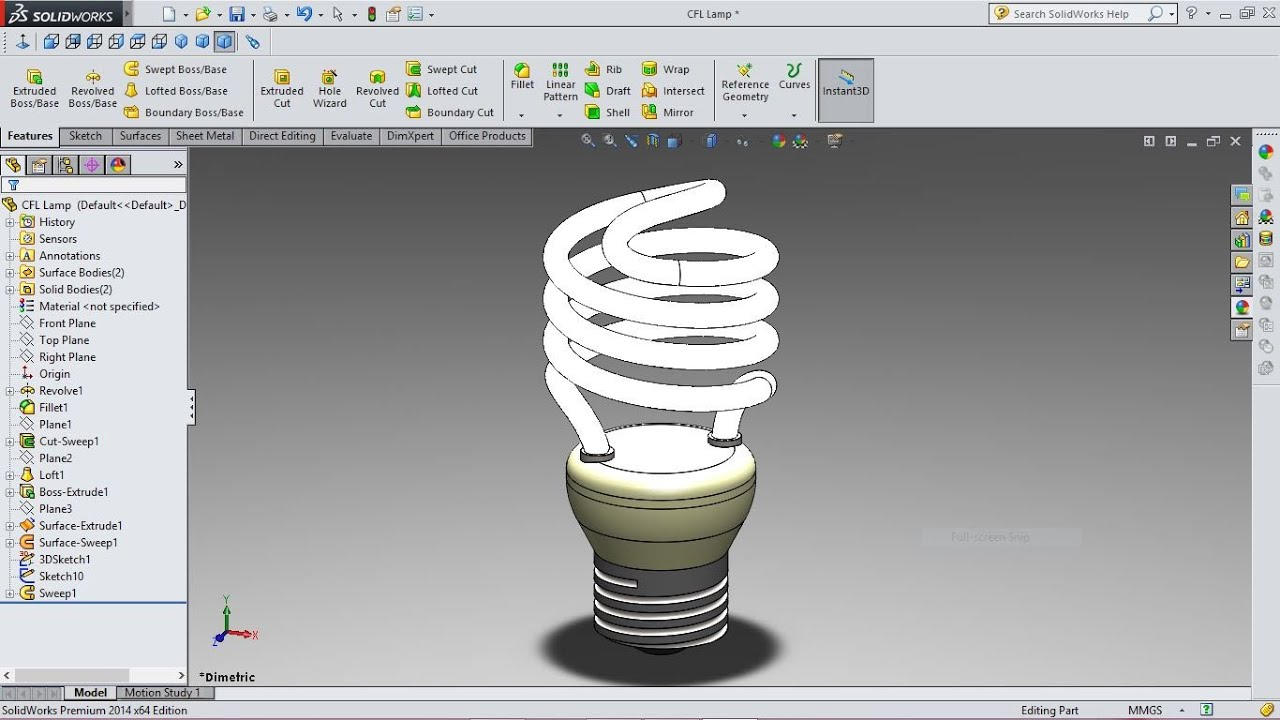 Fluorescent Tube Drawing Solidworks Tutorial Compact Fluorescent Lamp Youtube