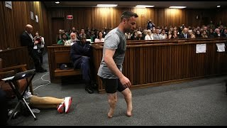 Oscar Pistorius walks on stumps in court to avoid jail