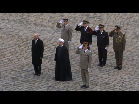 Iran's President Rouhani attends welcome ceremony in Paris