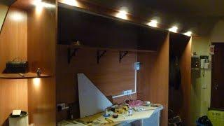 Домашняя мастерская своими руками  Часть 3  Крепление дверок и внешняя подсветка