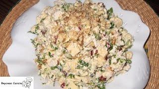 Салат с омлетом и ветчиной