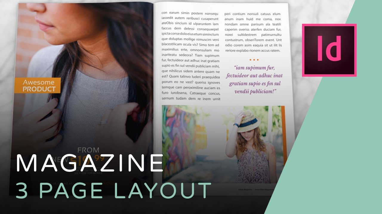 Let's Create a 3 Page Magazine Spread in InDesign - YouTube