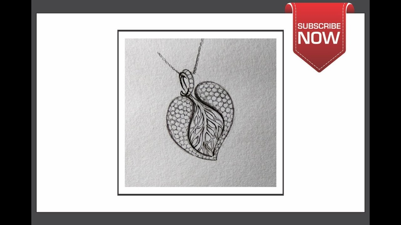 How To Draw Jewellery Designs On Paper Step By Step Heart Pendent