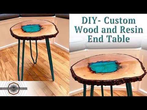 DIY Custom Wood and Resin End Table