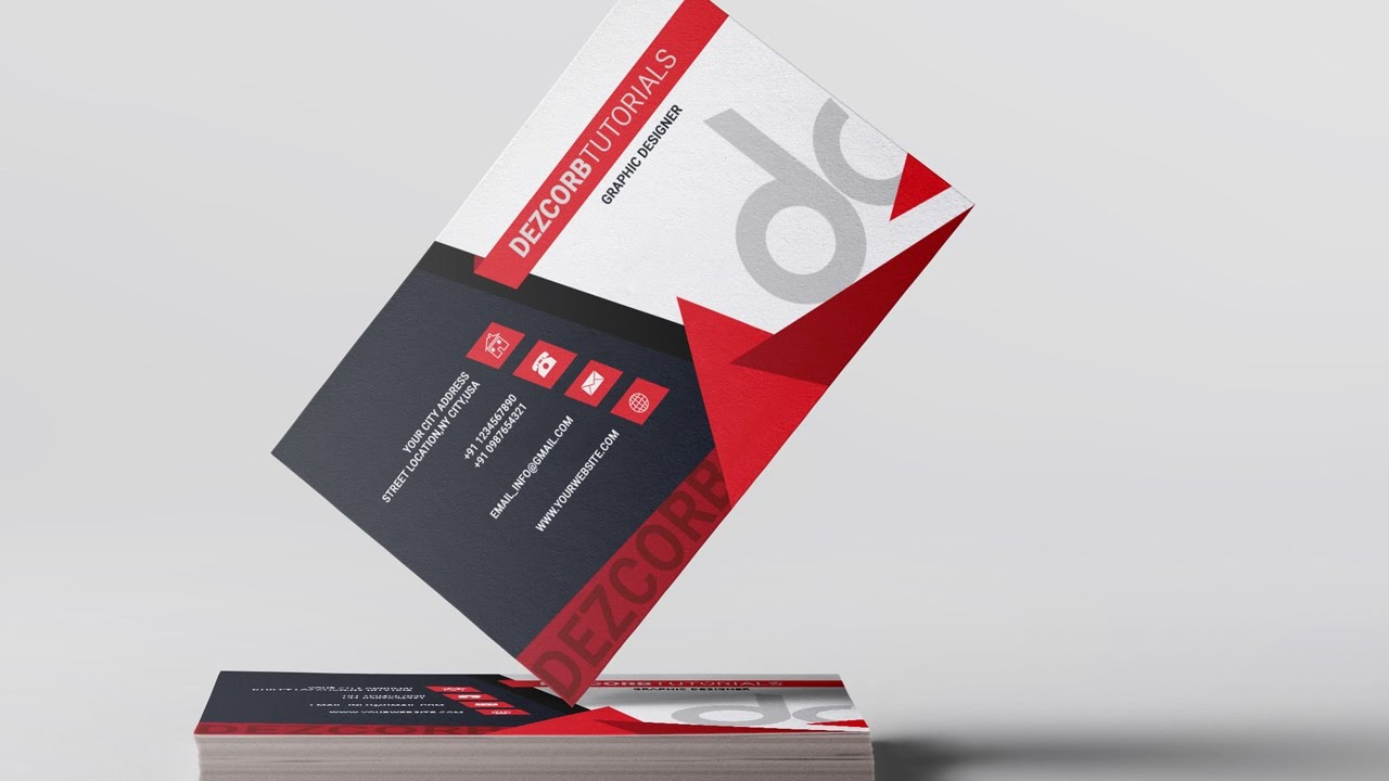 business card design in photoshop cs6 back red gray youtube