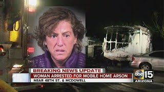 Woman arrested for mobile home arson