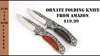 Ornate Folding Pocket Clip Knife (Amazon)