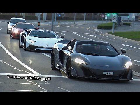 Car Meeting in ZUG SWITZERLAND - Aventador SV & McLaren LT675 Spider, Huracan, Skyline GTR R34 etc.