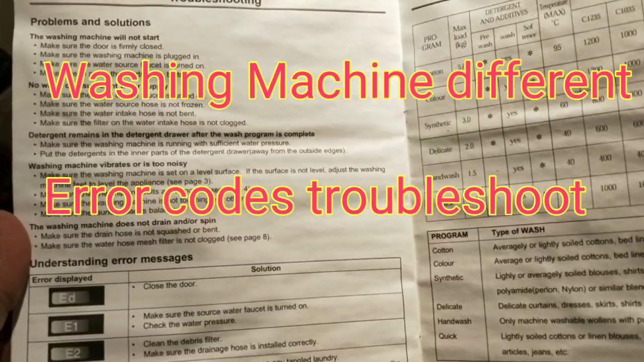 Washing machine error codes e1 e2 Ed e4 e9   front load washing machines  troubleshooting error codes