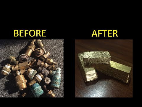 Melting Brass Scrap Metal Casting into Cool INGOTS 1080p Metal Casting full pour vid