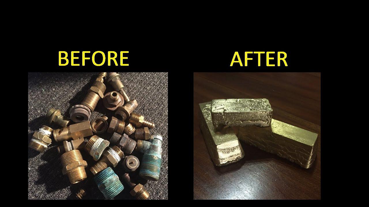 Melting Brass Scrap Metal Casting Into Cool Ingots 1080p