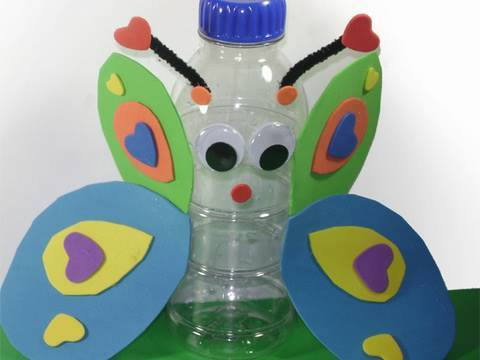 Recycled kids crafts butterfly in a bottle or a bottle for Waste material craft works