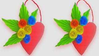 DIY Paper Heart Wall Hanging Idea - Wall Decoration with paper flower