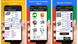 How To Calculate Quantity of Concrete, Bricks, Tiles, Steel, Blocks, Area by Android App screenshot 2
